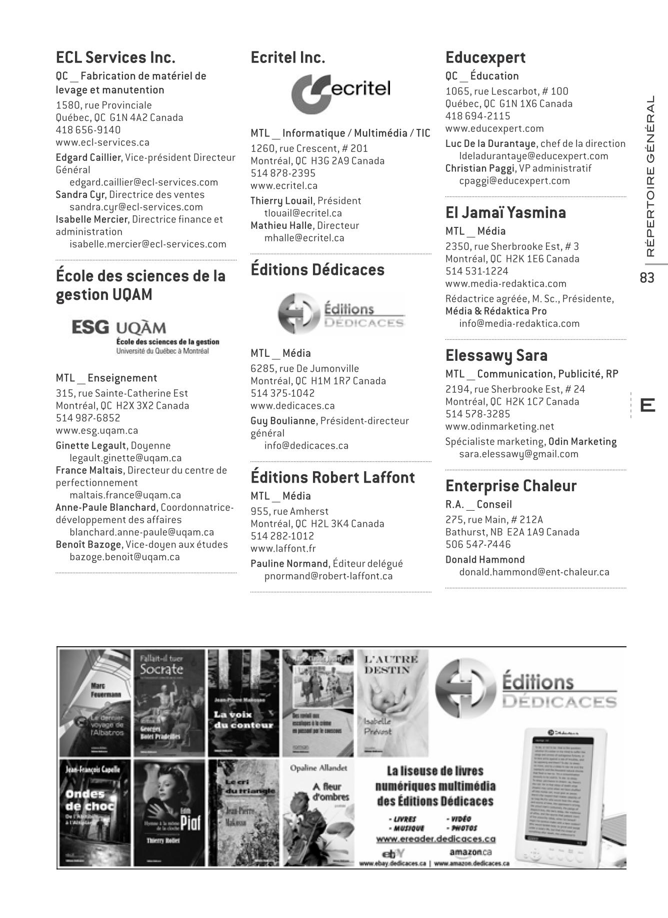 Publicit des ditions d dicaces dans l annuaire des for Chambre de commerce au canada