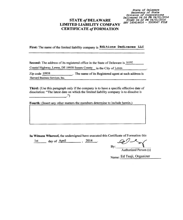 Editions Dedicaces LLC - Certificate of Formation (Delaware)