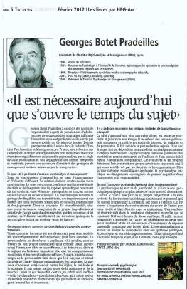 Georges Botet Pradeilles - Interview AGEFI Fev. 2012 - LOW