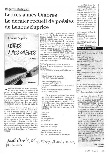 Lenous Suprice, Ha+»ti Libert+®, vol.4, No.44, 18 au 24 mai 2011, pp.19-20