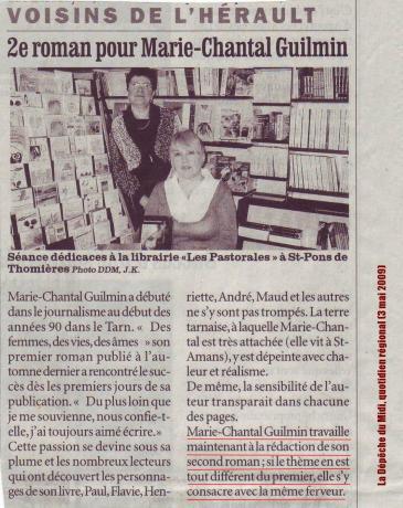 Marie-Chantal Guilmin - La D+®p+¬che du Midi, quotidien r+®gional (3 mai 2009) LOW