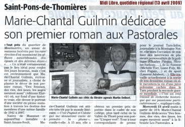 Marie-Chantal Guilmin - Midi Libre, quotidien r+®gional (13 avril 2009)